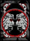 För vektorhand för två bulldogg attraktion royaltyfri illustrationer