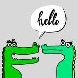 För vektorillustration för krokodil djur reptil för rovdjur för tecknad film för gräsplan för alligator Arkivbilder