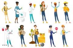 För vektorillustrationer för yrkesmässiga kvinnor uppsättning vektor illustrationer