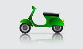 För vektorklassiker för sparkcykel grön vespa Arkivbilder