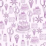 För vektorklotter för lycklig födelsedag sömlös modell Arkivfoto