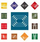 För vektorlogo för design fyrkantig mall stock illustrationer