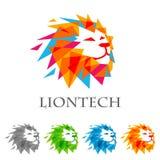För vektorlogo för lejon head design, abstrakt tigerlogo Arkivfoto