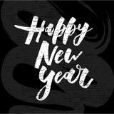 För vektorlutning för lyckligt nytt år svart tavla för klistermärke för kalligrafi för bokstäver för uttryck stock illustrationer