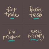 För vektormat för hand skriftliga etiketter - Bio Ec för ganska lantgård stock illustrationer