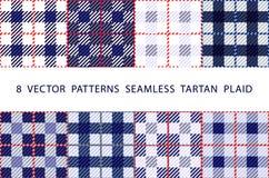 För VEKTORMODELLER för uppsättning 8 blått för PLÄD för TARTAN SÖMLÖSA vektor illustrationer
