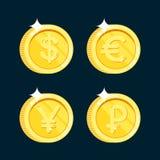 För vektormynt för guld- mynt realistisk symbol med isolerade skuggor Royaltyfria Foton