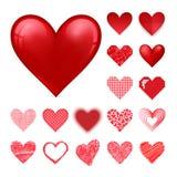 För vektorrosa färger för röd hjärta firar det härliga skarpa kortet för färg ljus garnering för emoticonferiekonst royaltyfri illustrationer
