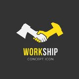 För vektorsymbol för arbete och för kamratskap abstrakt symbol eller Royaltyfri Bild