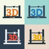 för vektorsymboler för skrivare 3D uppsättning Stock Illustrationer