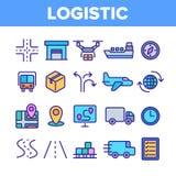 För vektorsymboler för global logistisk avdelning linjär uppsättning royaltyfri illustrationer