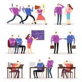 För vektortecknad film för funktionsdugligt folk tecken Kvinna- och manaffärsfolk som agerar i olikt läge stock illustrationer