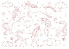 För vektortecknade filmen för handen ställde den utdragna översikten in för enhörningar isolerat på vit bakgrund Magiska varelser royaltyfri illustrationer