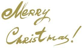 För vektortext för glad jul mall för kort för design för bokstäver Calligraphic Royaltyfria Bilder