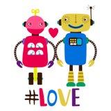 För vektortryck för kvinnlig och för manliga robotar förälskad illustration royaltyfri illustrationer
