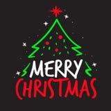 För vektortypografi för glad jul begrepp med julgranen royaltyfri bild