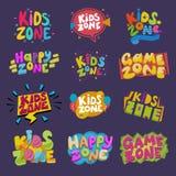 För vektorungar för modigt rum baner för lekrum i tecknad filmstil för för lekzon för barn lycklig uppsättning för illustration f royaltyfri illustrationer