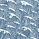 för vektorwallpaper för hav seamless waves Arkivfoto
