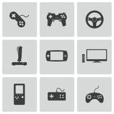 För videospelsymboler för vektor svart uppsättning stock illustrationer