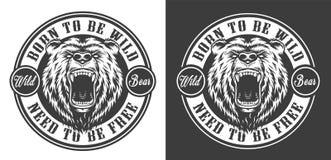 För vilt runt emblem björnhuvud för tappning royaltyfri illustrationer