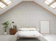 för vindstil för tolkning 3D sovrum med den vita tegelstenväggen, trägolv, träd, ram för åtlöje upp stock illustrationer