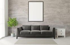 för vindstil för tolkning 3D vardagsrum med konkreta för stor svart soffa det rå trägolvet, stort fönster, träd, ram som är falsk vektor illustrationer