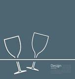För vinglasbröllop för illustration två kort för inbjudan Arkivbild