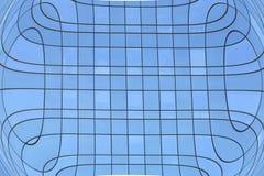 För vinkelstål för abstrakt illustration brett ljus - blå glass byggnad Royaltyfri Fotografi