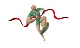 För vinnarefullföljande för folk rinnande sprinter för solig dag Arkivbild