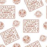 För vinterferie för glad jul vektor för modell för monokrom logo sömlös royaltyfri illustrationer