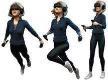 För virtuell verklighethjälm 3D för ung kvinna bärande illustration Royaltyfri Bild