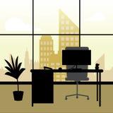 För visningbyggnad för kontor inre illustration för Cityscape 3d vektor illustrationer
