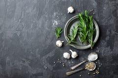 För vitlök, salt och vit peppar för rosmarin, kulinarisk bakgrund med olika kryddor, direkt över, framlänges som är lekmanna- royaltyfri fotografi