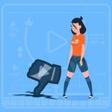 För Vlog för Blogger för flickahålltumme ner modern video motvilja för kanal skapare royaltyfri illustrationer