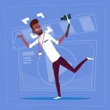 För Vlog för Blogger för kamera för handling för afrikansk amerikanmaninnehav modern video kanal skapare stock illustrationer