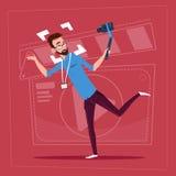 För Vlog för Blogger för kamera för maninnehavhandling modern video kanal skapare vektor illustrationer
