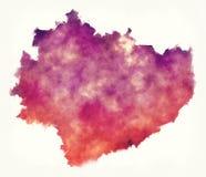 För voivodeshipvattenfärg för helgedom arg översikt av Polen framme av en wh stock illustrationer