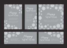 För vykortdesign för nytt år uppsättning för mall i färger av grå färger och vit royaltyfri illustrationer