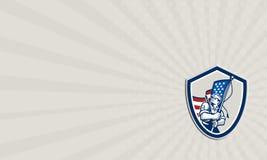 För Waving Stars Stripes för amerikansk soldat för affärskort sköld flagga Royaltyfri Foto