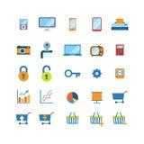 För websiteapp för plan vektor mobila symboler: minnestavla för telefon för shoppingvagn Arkivbilder