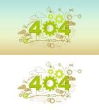 för websitebaner för 404 fel begrepp med den tunna linjen lägenhetdesign Royaltyfri Bild