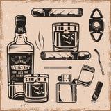 För whisky och monokromma designbeståndsdelar för cigarrer Royaltyfri Illustrationer