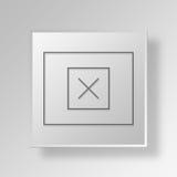 för wireframeknapp för modell 3D begrepp för symbol Arkivbild