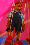 För wood retro leksak Pinocchio för docka handgjord docka Fotografering för Bildbyråer