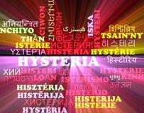 För wordcloudbakgrund för hysteri multilanguage glöda för begrepp Arkivbild