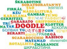 För wordcloudbakgrund för klotter multilanguage begrepp Royaltyfri Fotografi