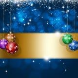 För Xmas-hälsning för ferie blått kort royaltyfri illustrationer