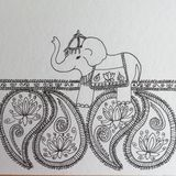 För Zenklotter för indisk elefant penna och färgpulverteckning Royaltyfri Foto