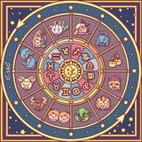 För zodiakcirkel för vektor gulligt horoskop royaltyfri illustrationer