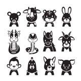 12 för zodiaktecken för djur kinesiska symboler uppsättning, monokrom vektor illustrationer